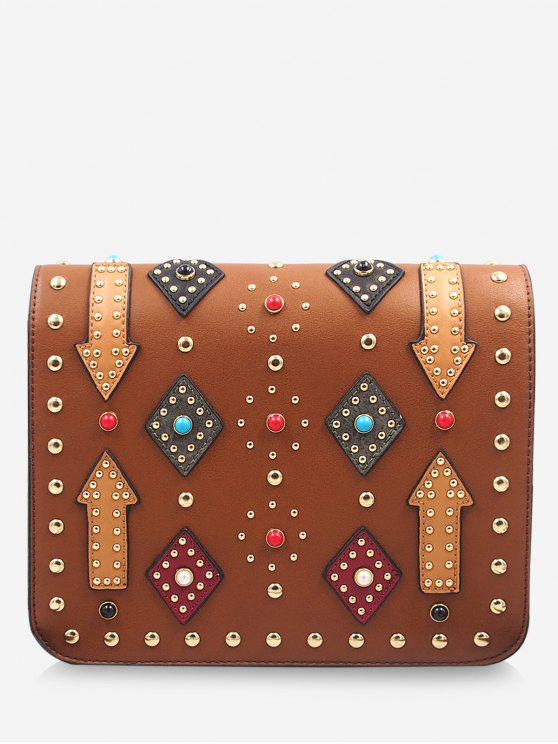 fancy Geometric Rivets Color Block Crossbody Bag - BROWN
