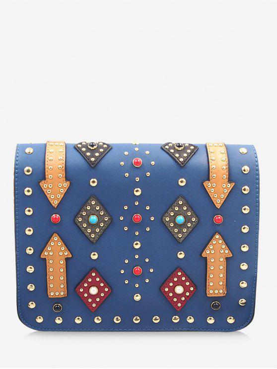lady Geometric Rivets Color Block Crossbody Bag - BLUE