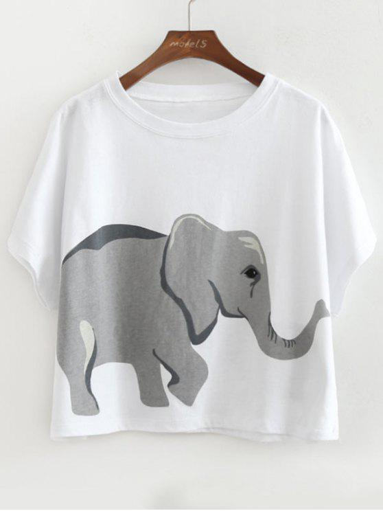 6bedf51a13e3 22% OFF] 2019 Loose Cotton Elephant Top In WHITE | ZAFUL