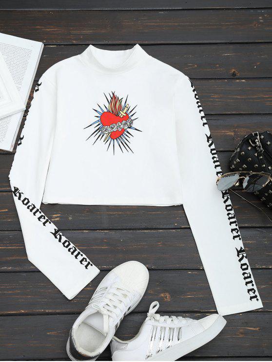 T-shirt da colheita da cópia floral do pescoço alto - Branco L