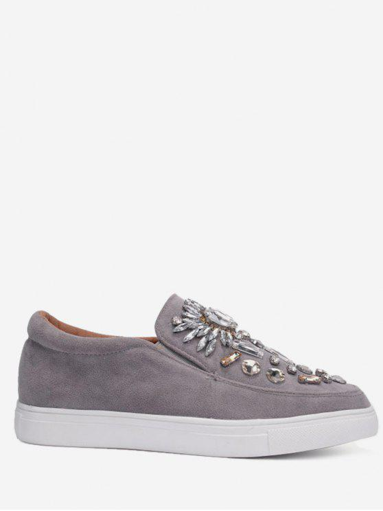 Sneakers Slip On impreziosito di strass - Grigio 37