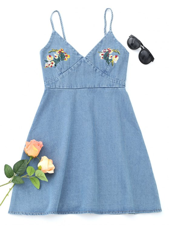 online Denim Floral Embroidered Pinafore Mini Dress - LIGHT BLUE M