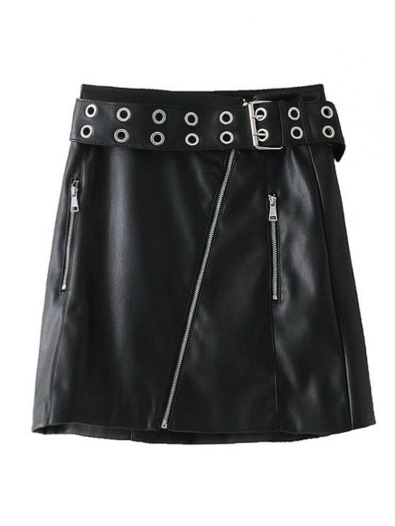 women's Studded Zip Up Faux Leather Mini Skirt - BLACK L
