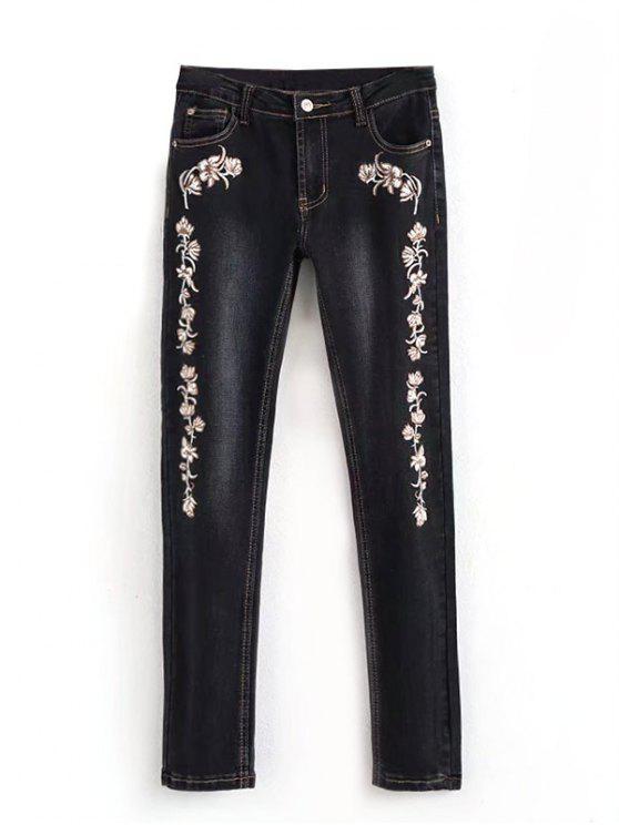 Jeans A Matita Ricamati Con Lavaggio Candeggina - Nero 40