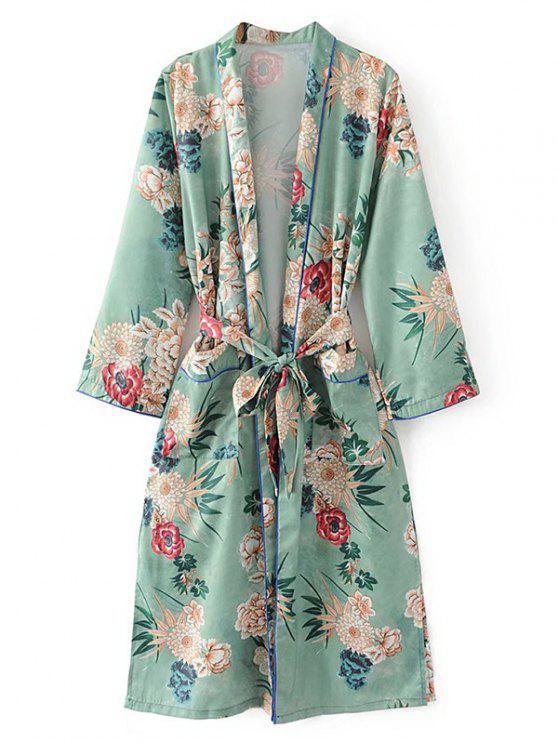 Blusa con hendidura lateral con cinturón y pijama floral - Verde Claro M