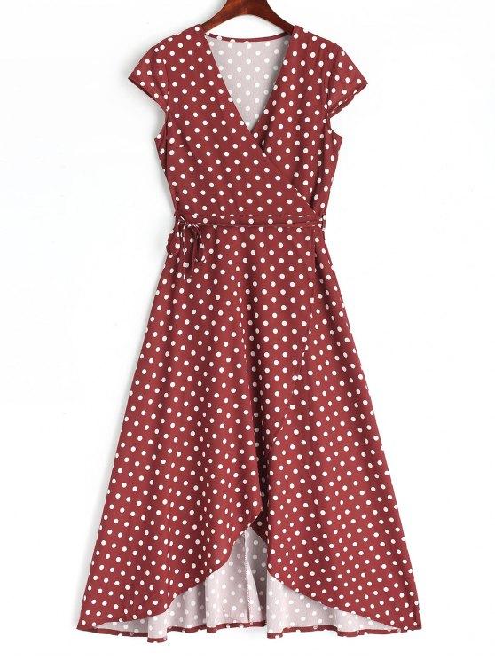 best Asymmetrical Polka Dot Wrap Maxi Dress - WINE RED 2XL