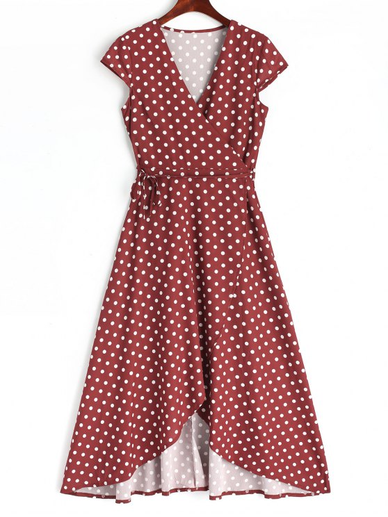 new Asymmetrical Polka Dot Wrap Maxi Dress - WINE RED M