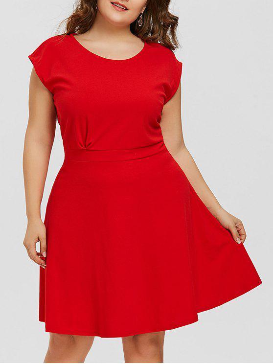 estilo novedoso gama muy codiciada de bastante baratas Vestido acampanado manga larga talla grande RED