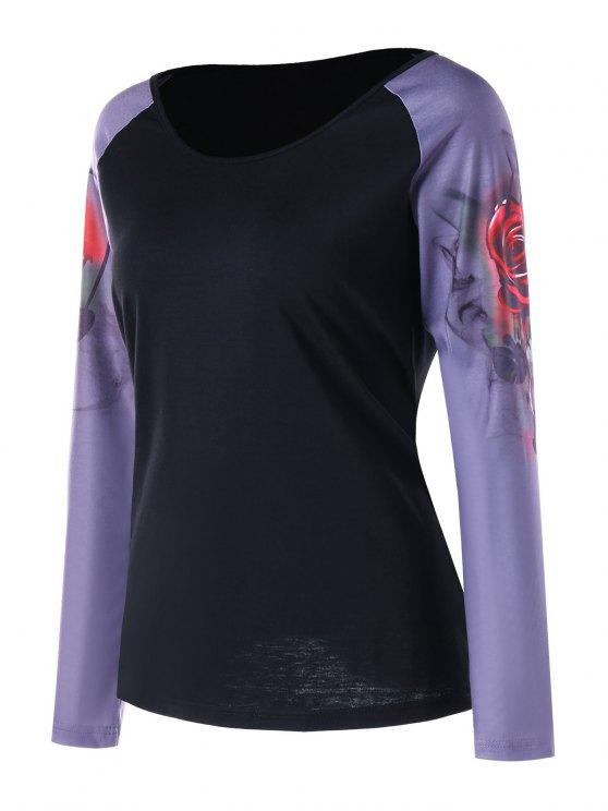 f2c3251eb6c2 33% OFF  2019 Raglan Sleeve 3D Rose Print Baseball T-shirt In BLACK ...
