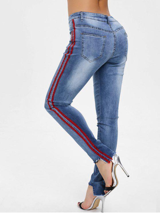 Jeans Strappati A Strisce Laterali Con Orlo Grezzo DENIM BLUE