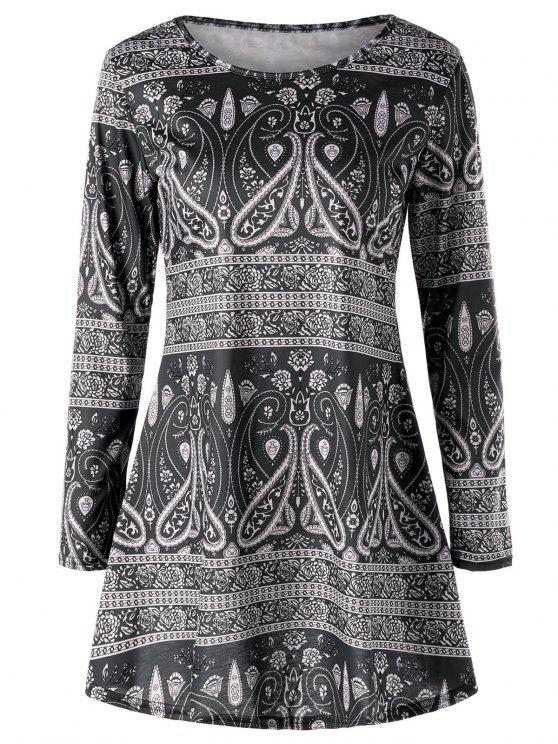 Paisley Long Sleeve T Shirt Black Tees Xl Zaful