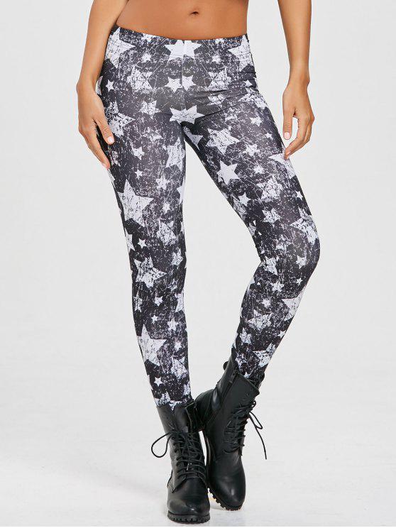 سروال ليقنز مزين بطبعة نجوم - أسود XL