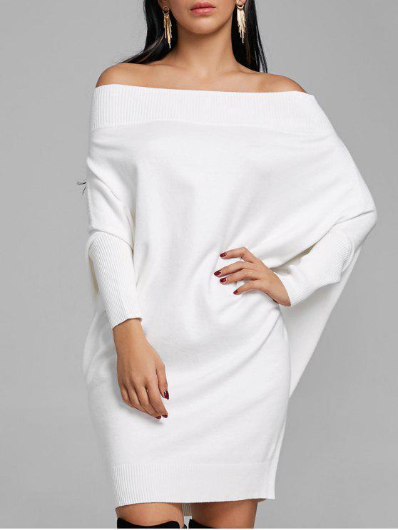 schön Design Qualitätsprodukte Größe 40 Aus der Schulter Fledermaus Ärmel Kint Kleid GRAY PINK BLACK WHITE