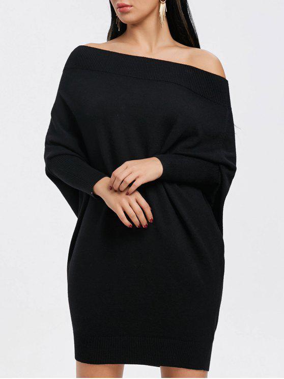 فستان بلا اكتاف محبوك - أسود S