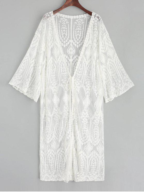 women Sheer Tie Front Leaf Embroidered Kimono Cover Up - WHITE ONE SIZE