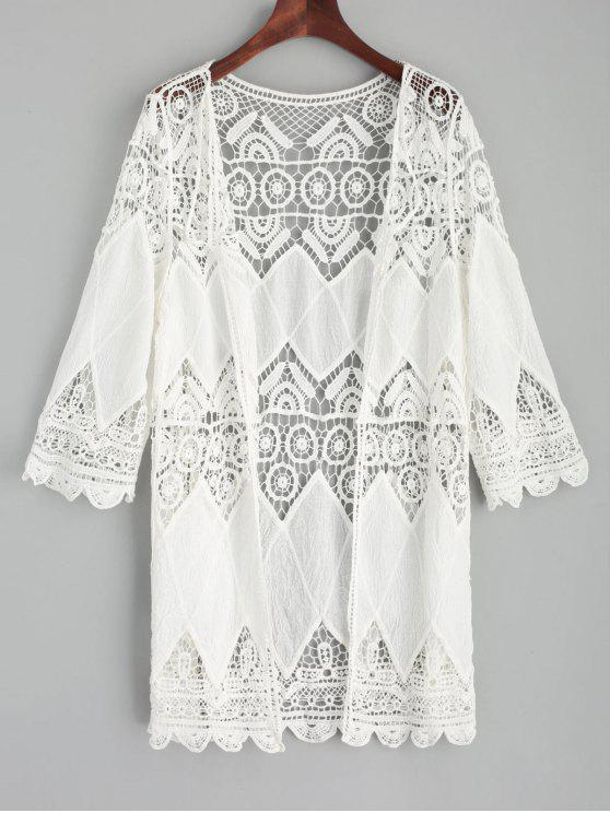 women's Crochet Kimono Cover Up - WHITE ONE SIZE
