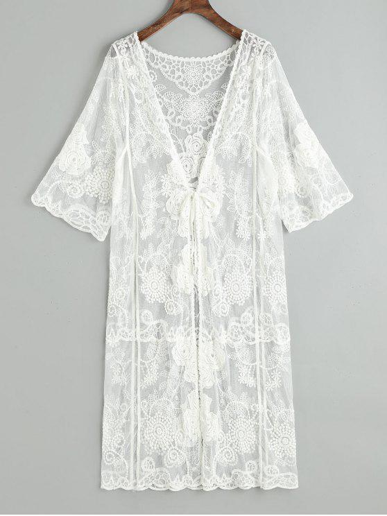 unique Sheer Tulle Tie Front Beach Kimono - WHITE ONE SIZE