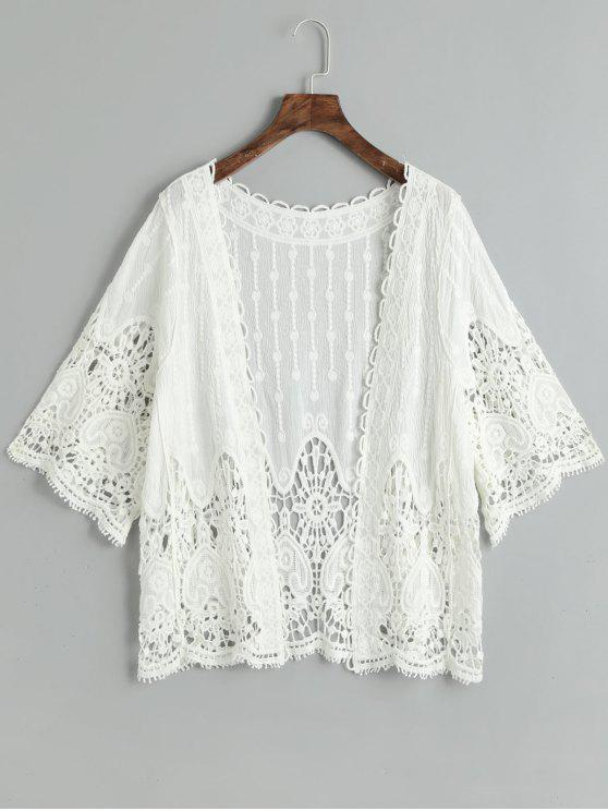 fancy Crochet Cover Up Top - WHITE ONE SIZE