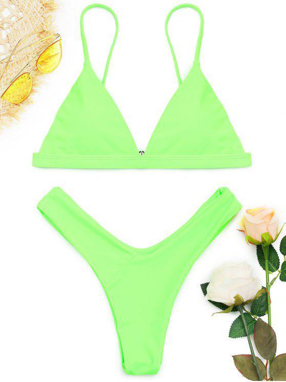 affordable Soft Pad Spaghetti Straps Thong Bikini Set - NEON GREEN M