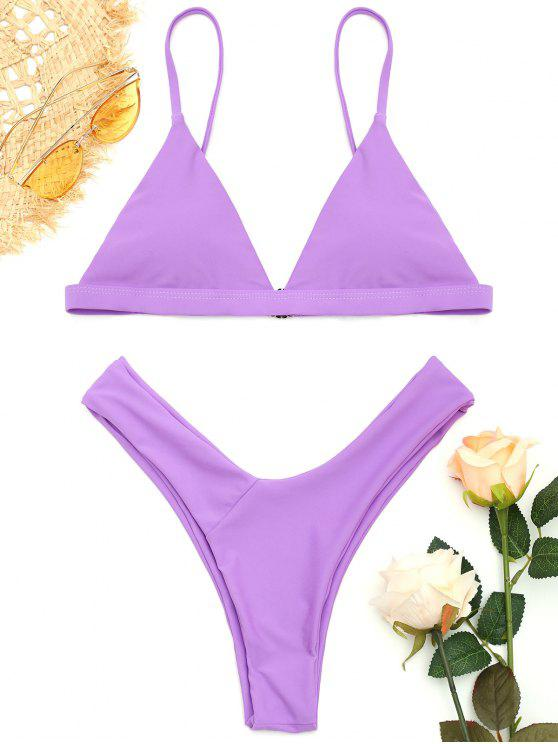 latest Soft Pad Spaghetti Straps Thong Bikini Set - PURPLE L