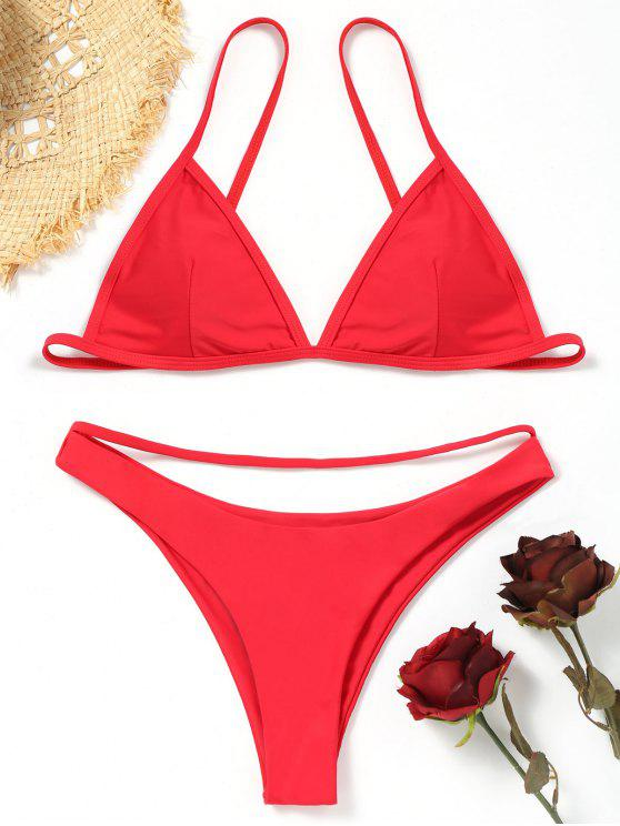 lady Cut Out Cami Bikini Swimwear - RED M