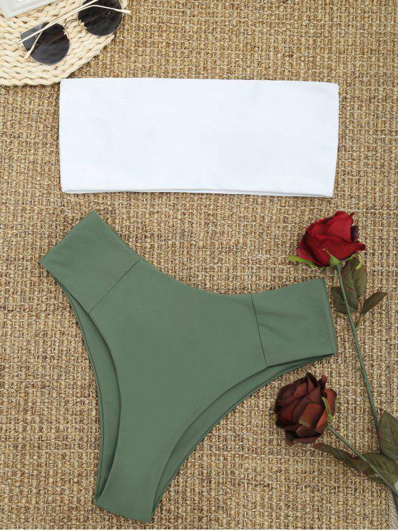 best High Cut Two Tone Bandeau Bikini Set - ARMY GREEN L