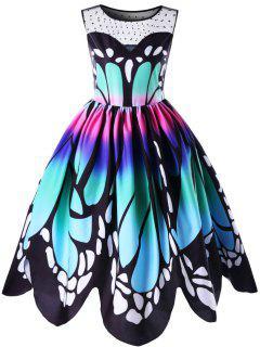 Plus Size Butterfly Print 50s Swing Dress - 5xl