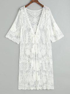 Sheer Tulle Tie Front Kimono De Playa - Blanco
