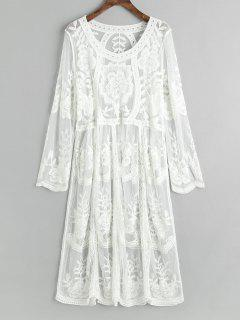 Embroidered Sheer Tulle Cover Up Dress - White