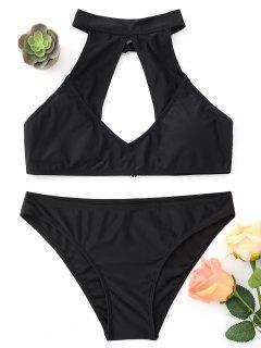 Juego De Bikini De Cuello Alto Con Abertura En La Boca - Negro S