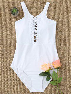 One Piece Low Back Strappy Swimwear - White L