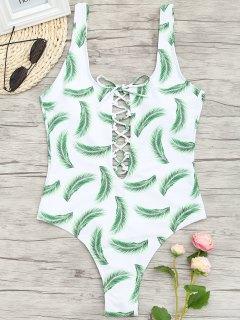 Ein Stück Lace Up Palm Leaf Bademode - Weiß S