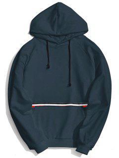 Kangaroo Pocket Striped Hoodie Men Clothes - Cadetblue 2xl