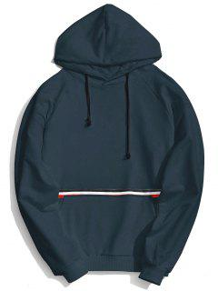 Kangaroo Pocket Striped Hoodie - Cadetblue Xl
