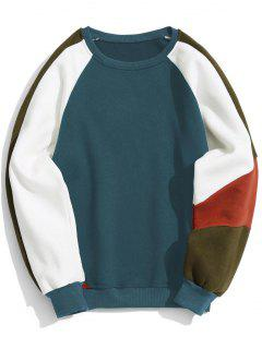 Sweat-shirt Ras Du Cou Contrastant En Molleton - Bleu Xl