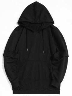 Raw Hem Kangaroo Pocket Hoodie - Black 2xl