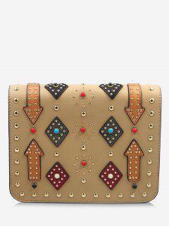 Geometric Rivets Color Block Crossbody Bag - Apricot
