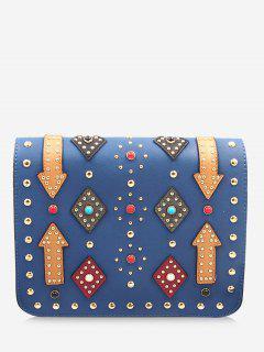 Geometric Rivets Color Block Crossbody Bag - Blue