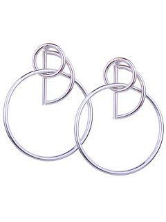 Boucles D'Oreilles Motif Cercle Et Géométrie En Métal  - Argent
