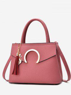 Metal Embellished Tassel Handbag - Pink