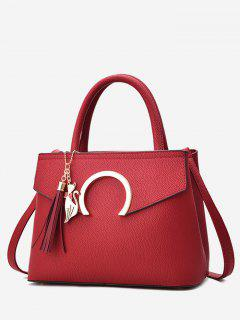 Metal Embellished Tassel Handbag - Red