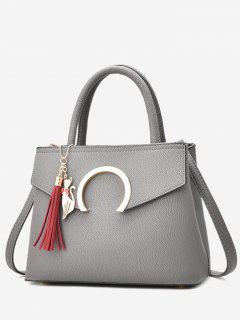 Metal Embellished Tassel Handbag - Gray