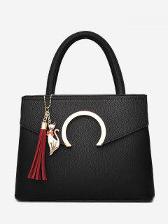 Metal Embellished Tassel Handbag - Black