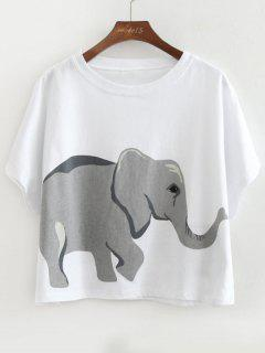 Loose Cotton Elephant Top - White