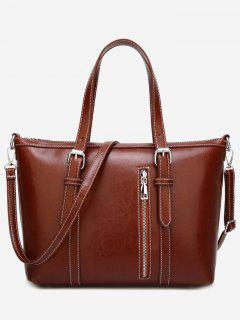 Stitching Buckle Strap Handbag With Strap - Brown