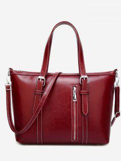 Stitching Buckle Strap Handbag With Strap - Red