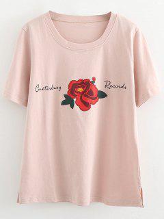 T-shirt à Fentes Latérales En Coton Rose - Rose PÂle