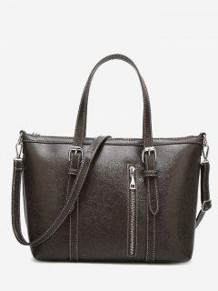 Stitching Buckle Strap Handbag With Strap - Gray