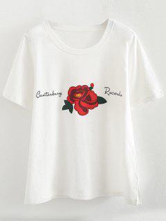 T-shirt Col Rond à Imprimé Floral Avec Fentes Sur Les Côtés - Blanc