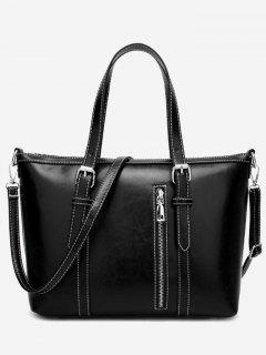 Stitching Buckle Strap Handbag With Strap - Black